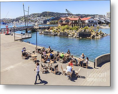 Outdoor Cafe Wellington New Zealand Metal Print by Colin and Linda McKie