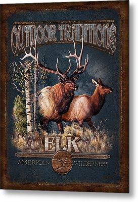 Outdoor Traditions Elk Metal Print by JQ Licensing