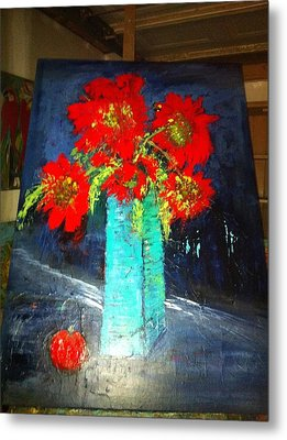 Oversized Poppies With Apple Metal Print by Anna Tolleson