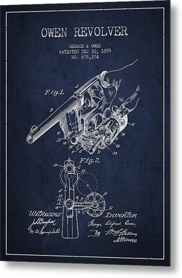 Owen Revolver Patent Drawing From 1899- Navy Blue Metal Print by Aged Pixel