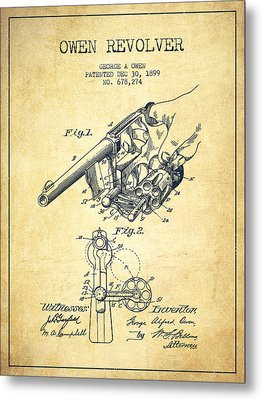 Owen Revolver Patent Drawing From 1899- Vintage Metal Print by Aged Pixel