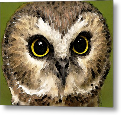 Owl Art - Night Vision Metal Print by Sharon Cummings