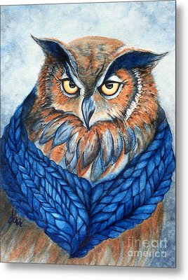 Owl In A Cowl Metal Print by Janine Riley