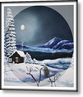 Owl Watch On A Cold Winter's Night In The Round  Metal Print by Kimberlee Baxter