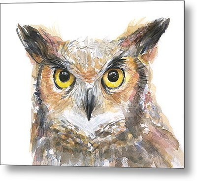 Owl Watercolor Portrait Great Horned Metal Print by Olga Shvartsur