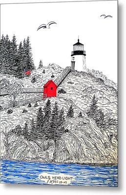 Owls Head Lighthouse Dwg Metal Print by Frederic Kohli