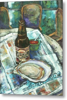 Oyster And Amber Metal Print by Dianne Parks