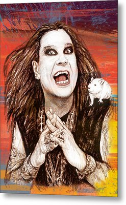 Ozzy Osbourne Long Stylised Drawing Art Poster Metal Print by Kim Wang
