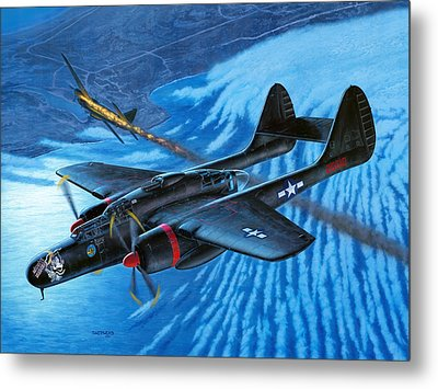 P-61 Black Widow  Caught In The Web Metal Print by Stu Shepherd