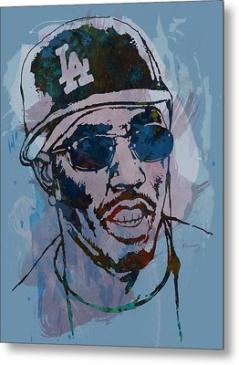 P Diddy - Stylised Etching Pop Art Poster Metal Print by Kim Wang