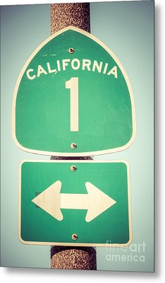 Pacific Coast Highway Sign California State Route 1  Metal Print by Paul Velgos