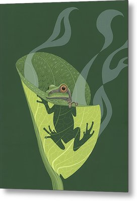 Pacific Tree Frog In Skunk Cabbage Metal Print by Nathan Marcy