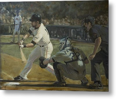 Pagan Leadoff Triple Metal Print by Darren Kerr