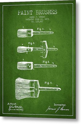 Paint Brushes Patent From 1873 - Green Metal Print by Aged Pixel
