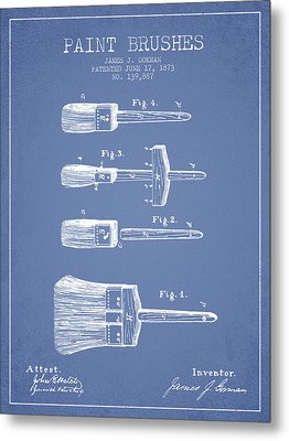 Paint Brushes Patent From 1873 - Light Blue Metal Print by Aged Pixel