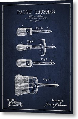 Paint Brushes Patent From 1873 - Navy Blue Metal Print by Aged Pixel