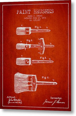 Paint Brushes Patent From 1873 - Red Metal Print by Aged Pixel