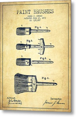 Paint Brushes Patent From 1873 - Vintage Metal Print by Aged Pixel