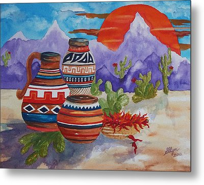 Painted Pots And Chili Peppers Metal Print by Ellen Levinson