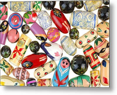 Painted Wooden Beads Metal Print by Jim Hughes