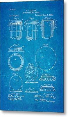 Painter Bottle Cap Patent Art 1892 Blueprint Metal Print by Ian Monk