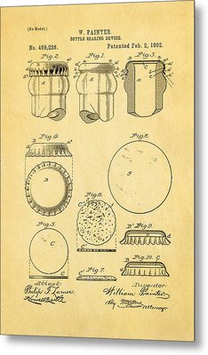 Painter Bottle Cap Patent Art 1892 Metal Print by Ian Monk