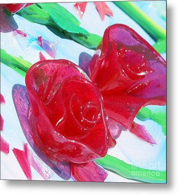 Painterly Stained Glass Looking Flowers Metal Print by Ruth Collis