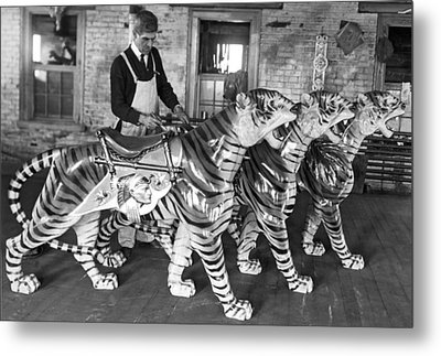 Painting Carousel Animals Metal Print by Underwood Archives