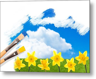 Painting Daffodils Metal Print by Amanda And Christopher Elwell