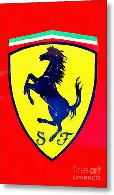 Painting Of Ferrari Badge Metal Print by George Atsametakis