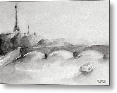 Painting Of Paris Bridge On The Seine With Eiffel Tower Metal Print by Beverly Brown Prints