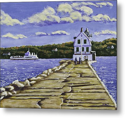 Rockland Breakwater Lighthouse In Maine Metal Print by Keith Webber Jr