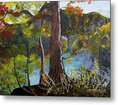 Painting Of Tree Of Golden Light Metal Print by Judy Via-Wolff