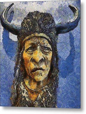 Painting Of Wood Spirit Carving Native American Indian Metal Print by Teara Na