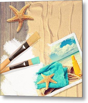 Painting Summer Postcard Metal Print by Amanda Elwell