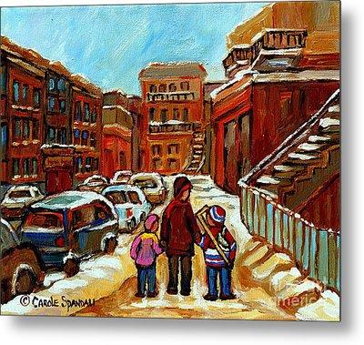 Paintings Of Baron Byng High School St Urbain A Winter Walk Down Memory Lane Montreal Art Carole  Metal Print by Carole Spandau
