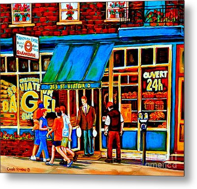 Paintings Of Montreal Memories Bagel And Bread Shop St. Viateur Boulangerie Depanneur City Scenes Metal Print by Carole Spandau