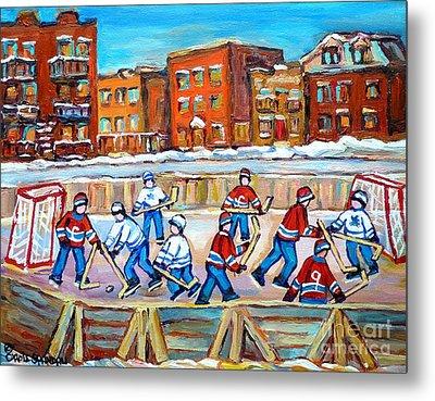 Paintings  Verdun Rink Hockey Montreal Memories Canadiens And Maple Leaf Hockey Game Carole Spandau Metal Print by Carole Spandau