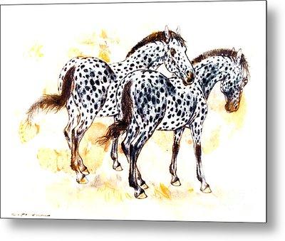 Pair Of Appaloosa Horses With Leopard Complex Metal Print by Kurt Tessmann