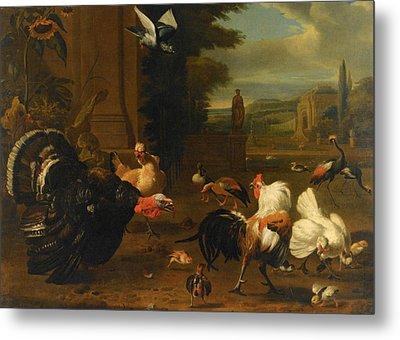 Palace Garden Exotic Birds And Farmyard Fowl Metal Print by Melchior de Hondecoeter