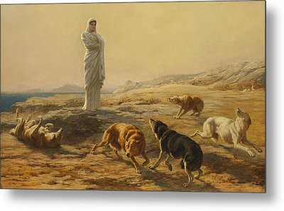 Pallas Athena And The Herdsmans Dogs Metal Print by Briton Riviere