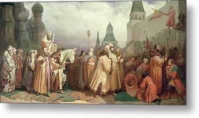 Palm Sunday Procession Under The Reign Of Tsar Alexis Romanov Metal Print by Viatcheslav Grigorievitch Schwarz