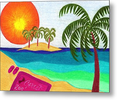 Palm Trees Across The Water Metal Print by Geree McDermott