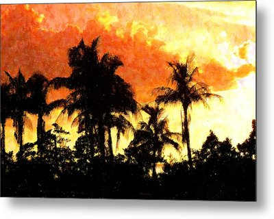 Palms See Red Metal Print by Florene Welebny