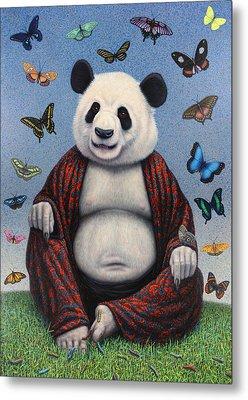 Panda Buddha Metal Print by James W Johnson