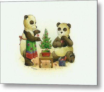 Pandabears Cristmas 02 Metal Print by Kestutis Kasparavicius