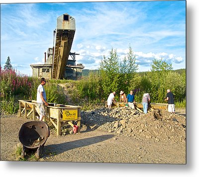 Panning For Gold In Chicken-ak- Metal Print by Ruth Hager
