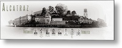 Panorama Alcatraz Infamous Inmates Black And White Metal Print by Scott Campbell