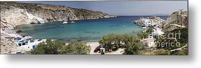 Panorama Of Mandrakia Fishing Village Milos Greece Metal Print by David Smith