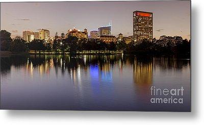 Panorama Of Mcgovern Lake And Texas Medical Center At Twilight- Hermann Park Houston Texas Metal Print by Silvio Ligutti